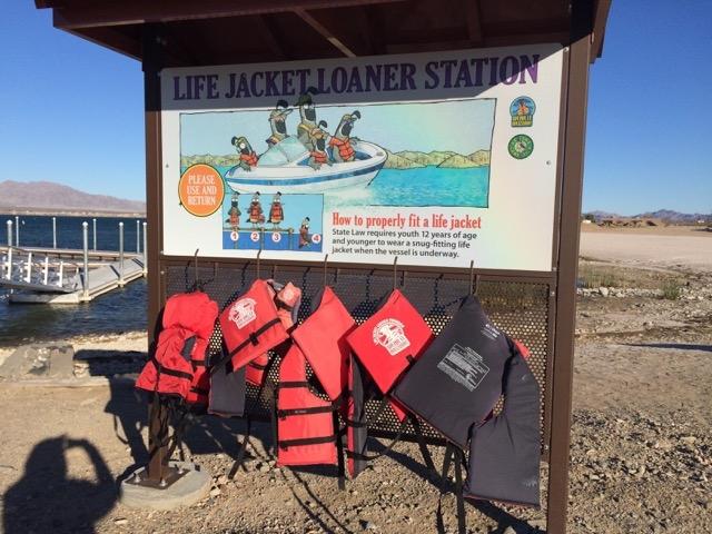 Honor life jacket loan station . . .