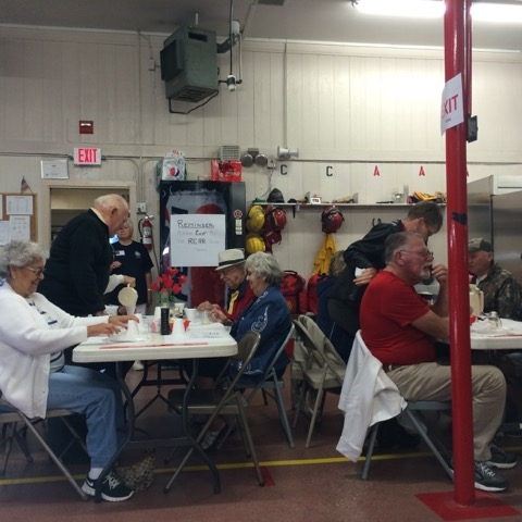 Delicious and well organized breakfast at the fire station