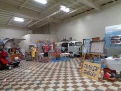 Vintage trailer displays inside the museum
