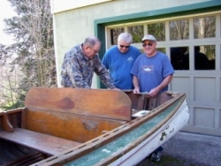 Picking up the Old Town Boat in Eagles Mere, Pennyslvania