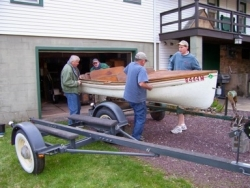 Picking up the 1937 Old Town Boat in EaglesMere, Pennsylvania