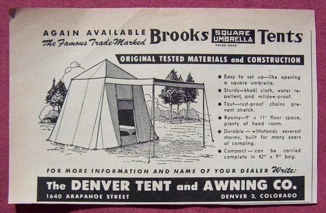 Umbrella Tent u0026 Awning Advertisement Denver Tent u0026 Awning ... & Vintage Tents - Vintage Trailer Camp